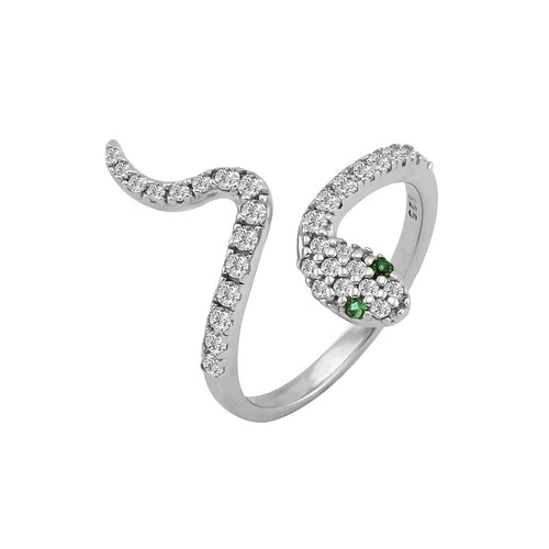 Pave Serpent Slither Ring Silver