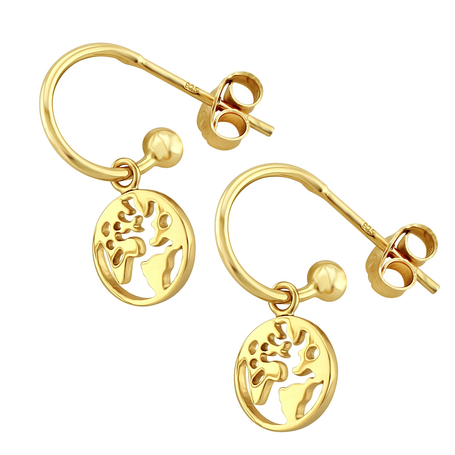 Traveller World Map Hoop Earrings
