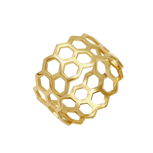 Honeycomb Ring Gold