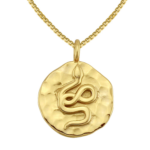Snake Hammered Disc Necklace