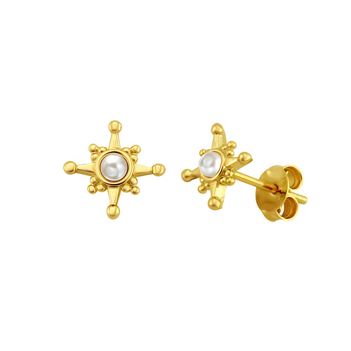 Star Pearl Stud Earrings