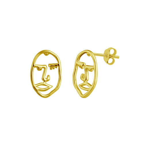 Abstract Face Stud Earrings