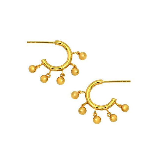 Mini Shaker Ball Hoop Earrings
