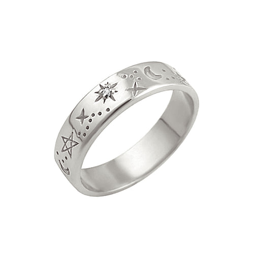 Celestial Band Ring Silver