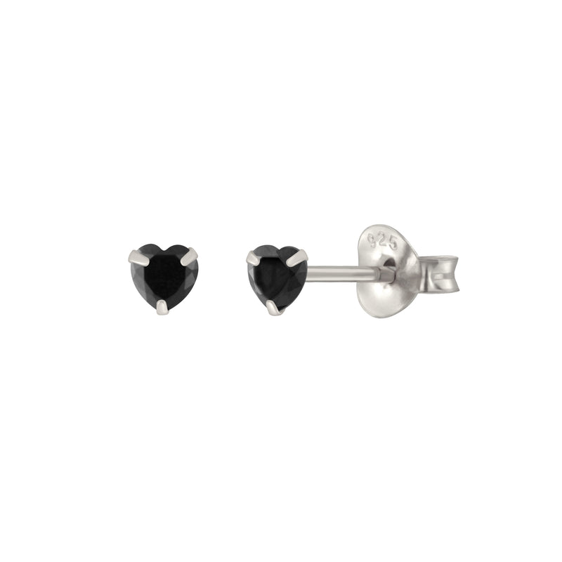 Black Shining Heart Stud Earrings