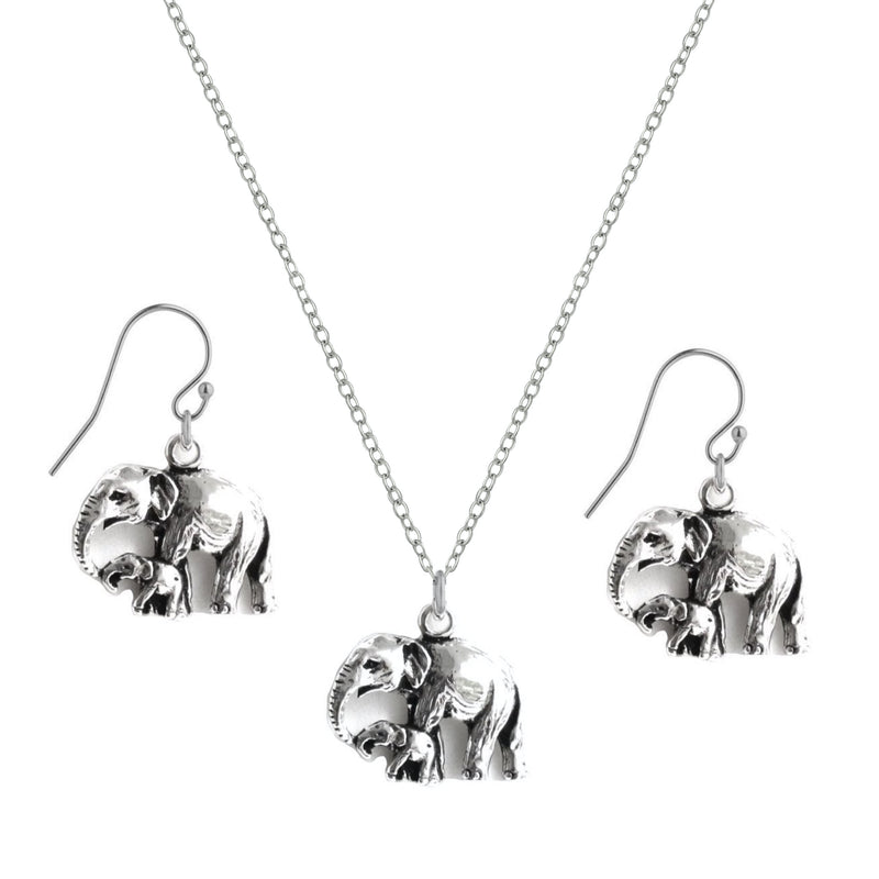 Mother & Baby Elephant Drop Earrings