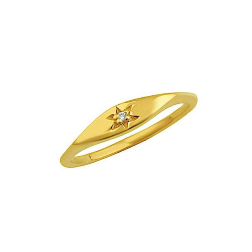 Mini Starburst Signet Ring Gold