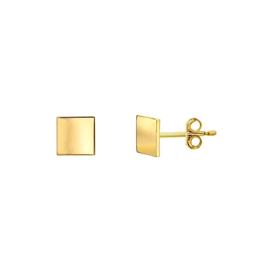 Golden Square Stud Earrings