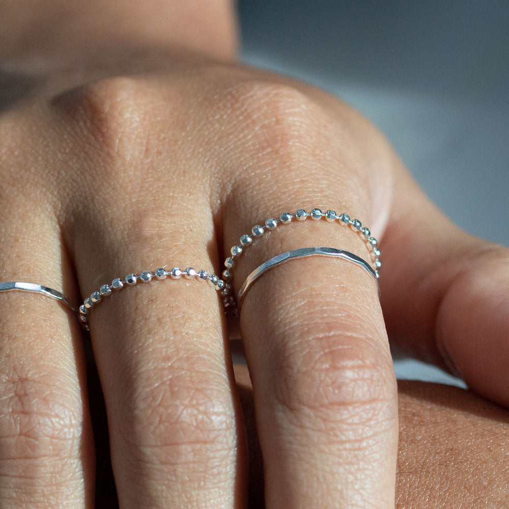 Diamond Cut Ball Chain Ring