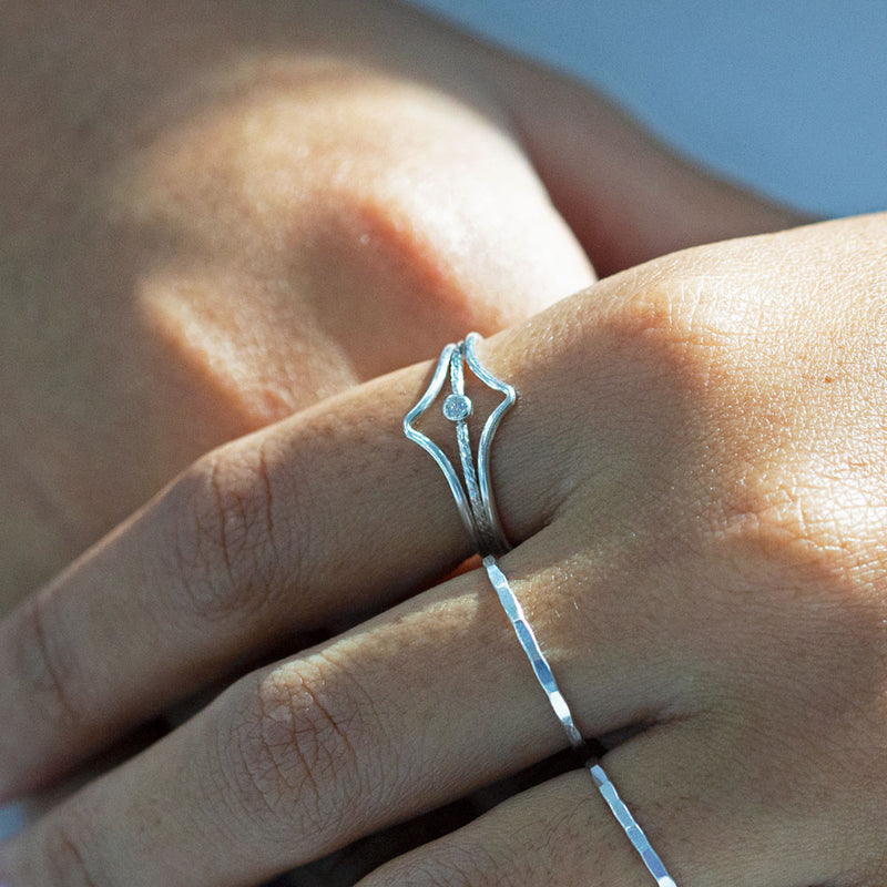 Chevron Ring Silver