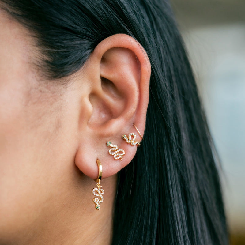 Pave Serpent Slither Huggie Earrings