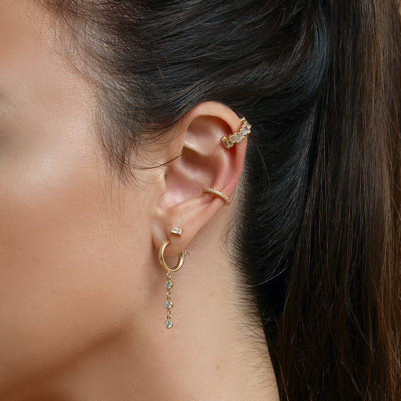 Claudia Linear Drop Hoop Earrings