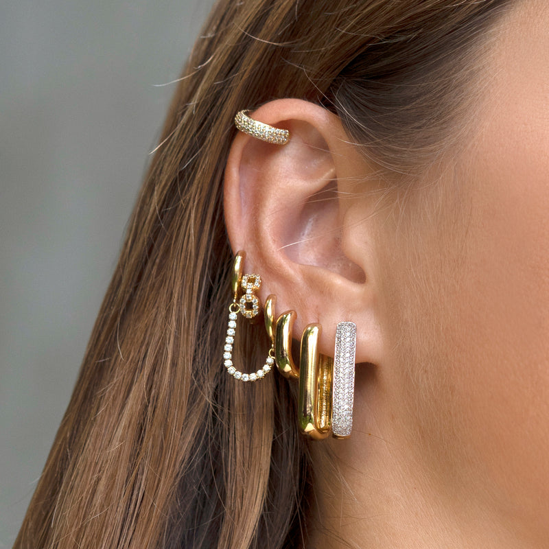 Tennis Chain Hoop Earring