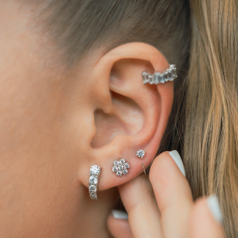 Sparkly Open Huggies Earrings