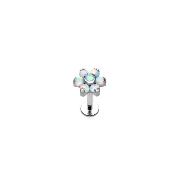 Opal Flower Threaded Labret