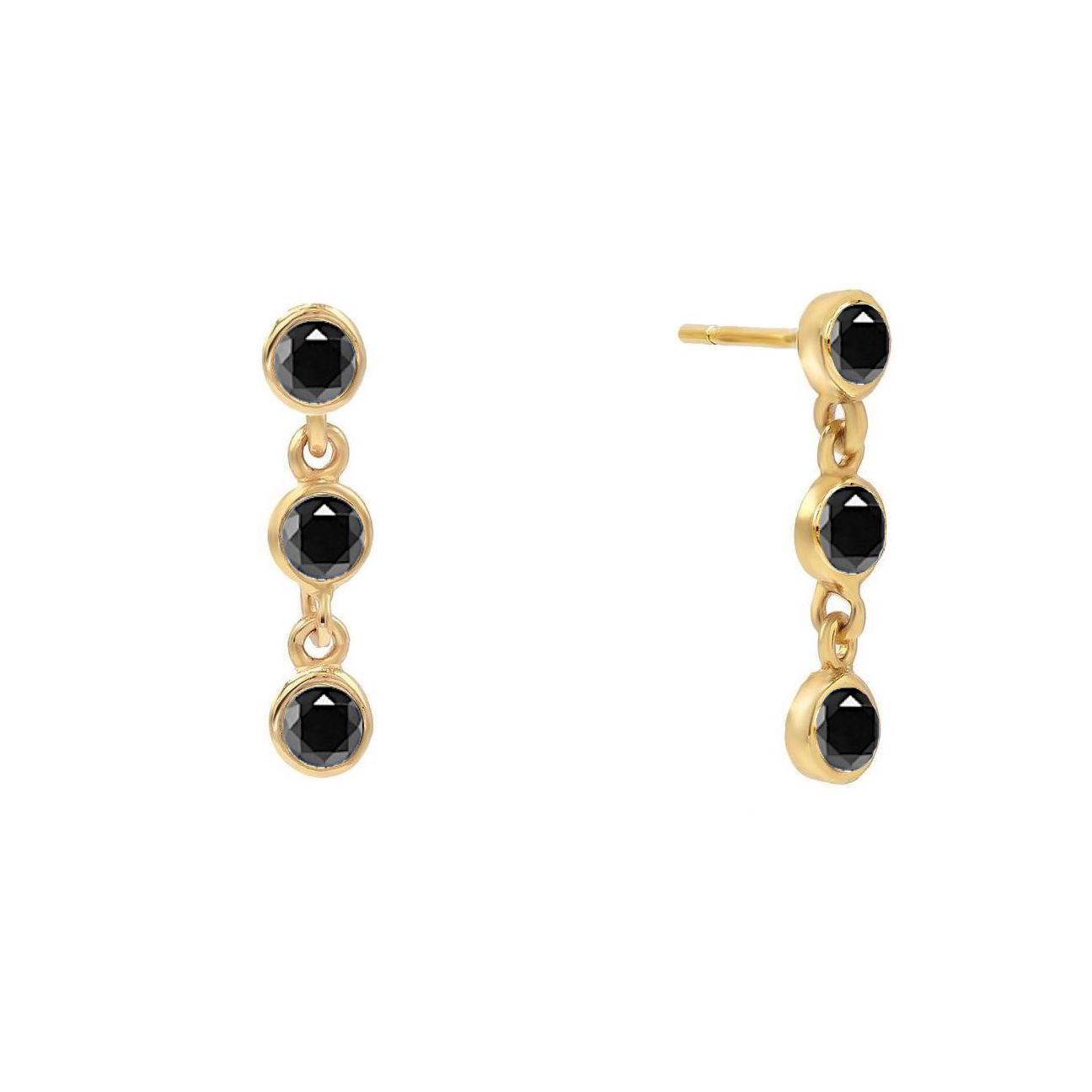 Black Trio Bezel Stud Earrings