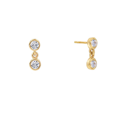 Double Bezel Drop Stud Earrings