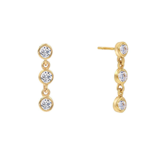 Trio Bezel Drop Stud Earrings