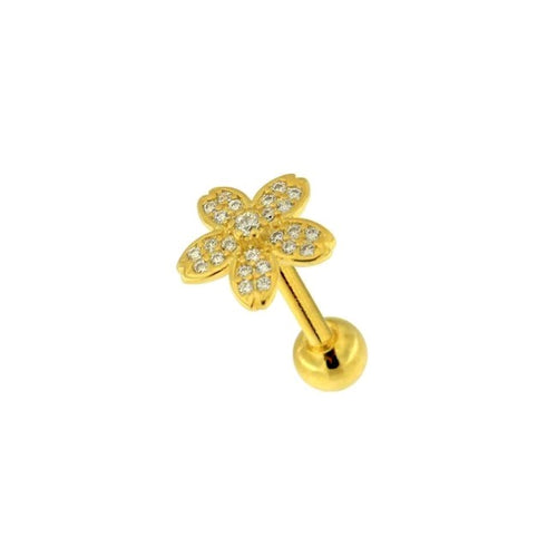 Flower Sparkle Cartilage Tragus Barbell