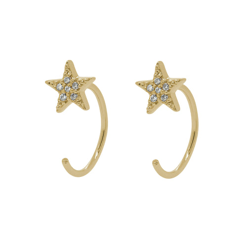 Pave Star Huggie Earrings
