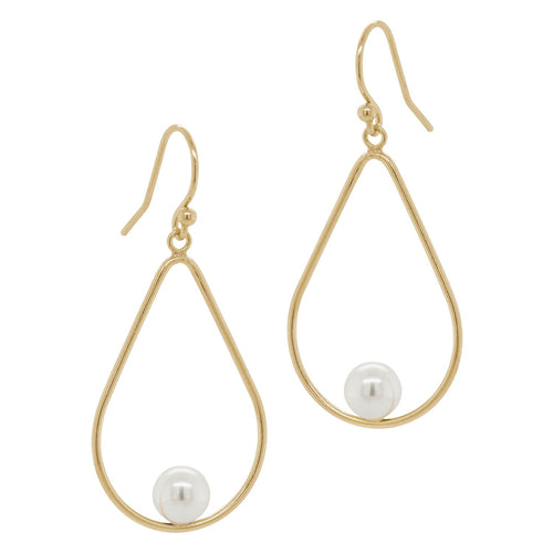 Open Teardrop Pearl Earrings