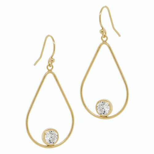 Open Teardrop CZ Earrings