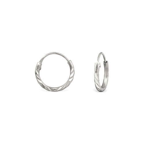 Mini Diamond Cut Hoop Earrings