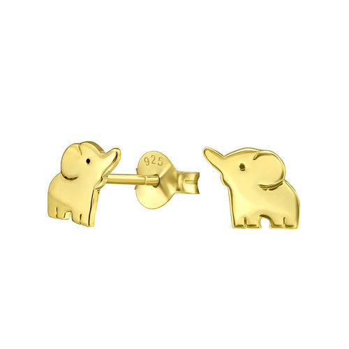Trunk up Elephant Stud Earrings