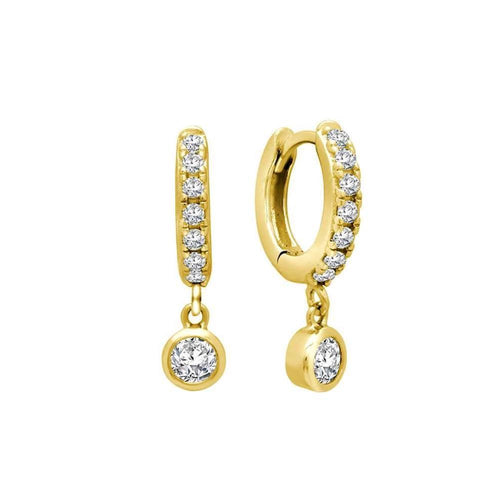 Pave Bezel Drop Huggie Earrings