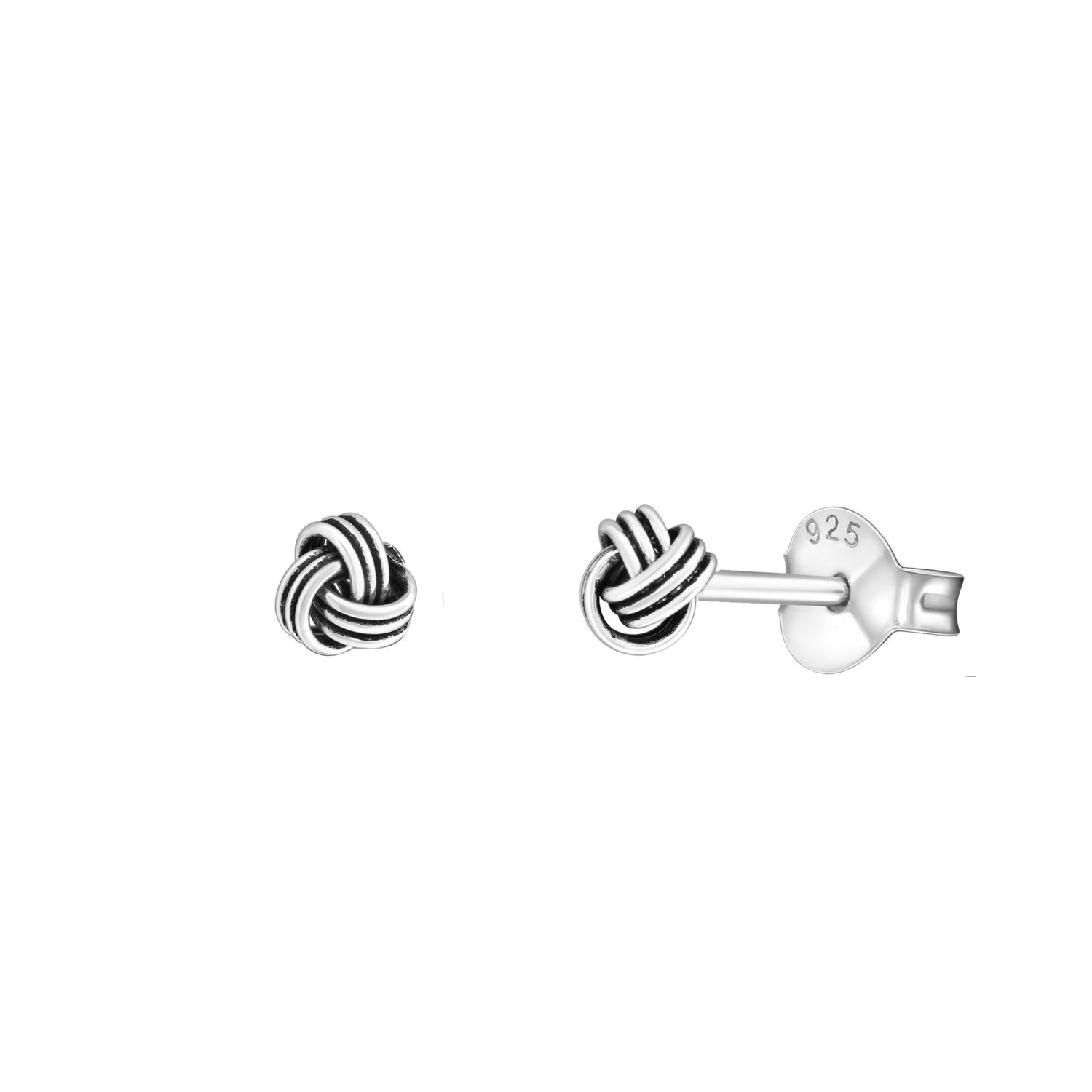 Little Oxidised Love Knot Stud Earrings