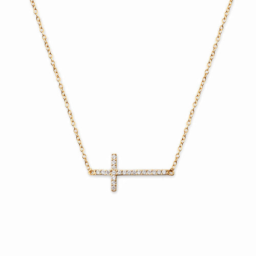 Sideway Pave Cross Necklace