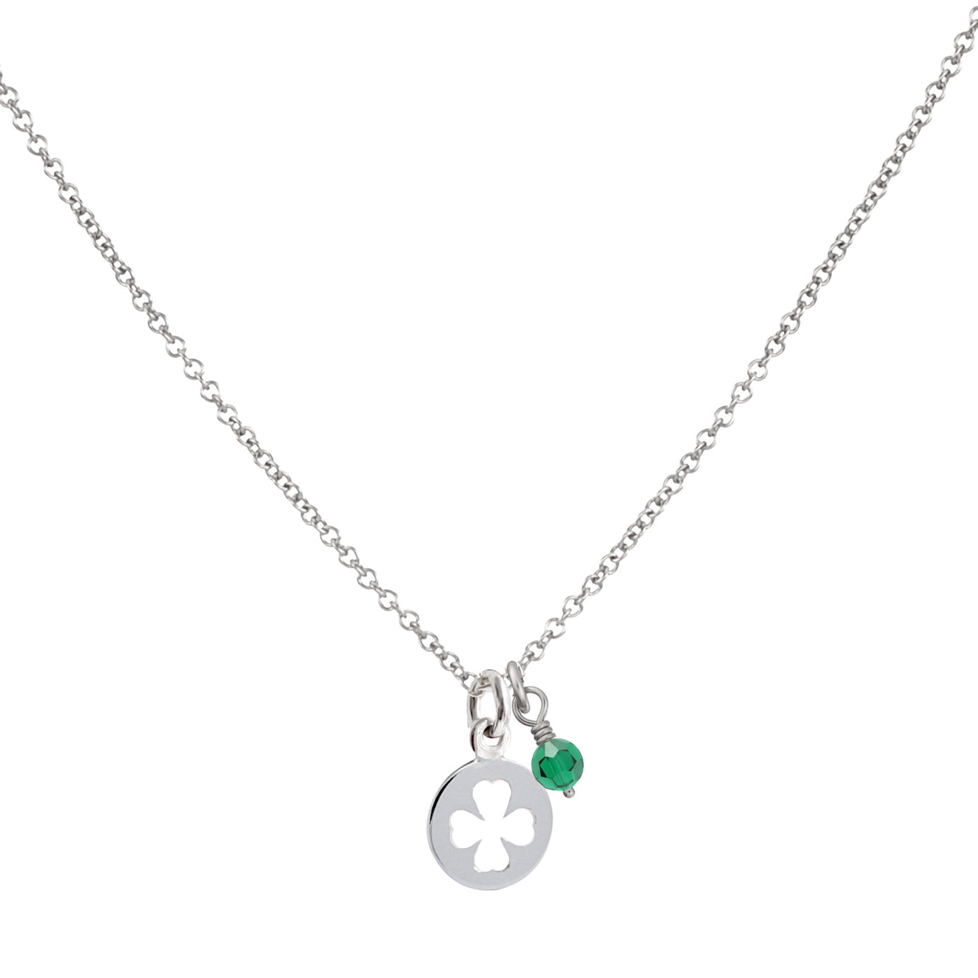 10K Gold Lucky Charm Clover Cutout Disc Necklace by JEWLR