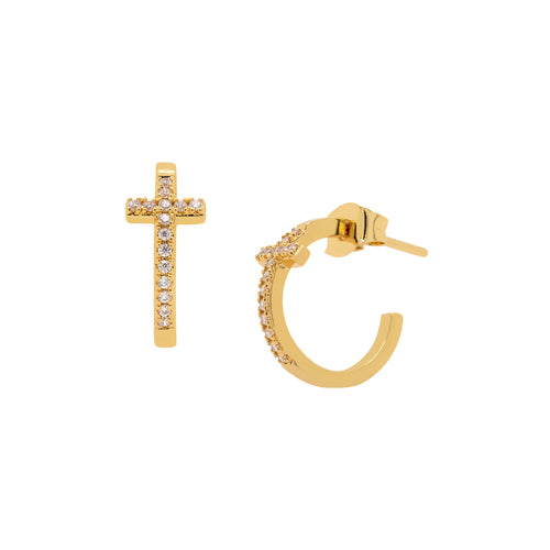 Pave Cross Hoop Earrings