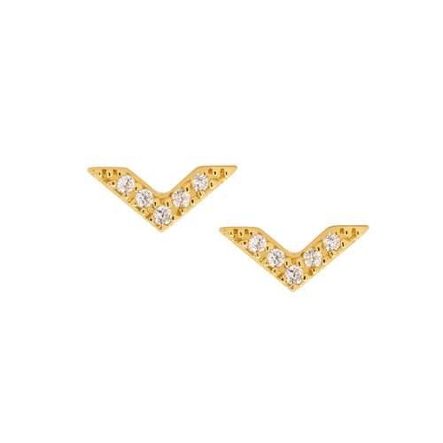 Mini Sparkle Chevron Stud Earrings
