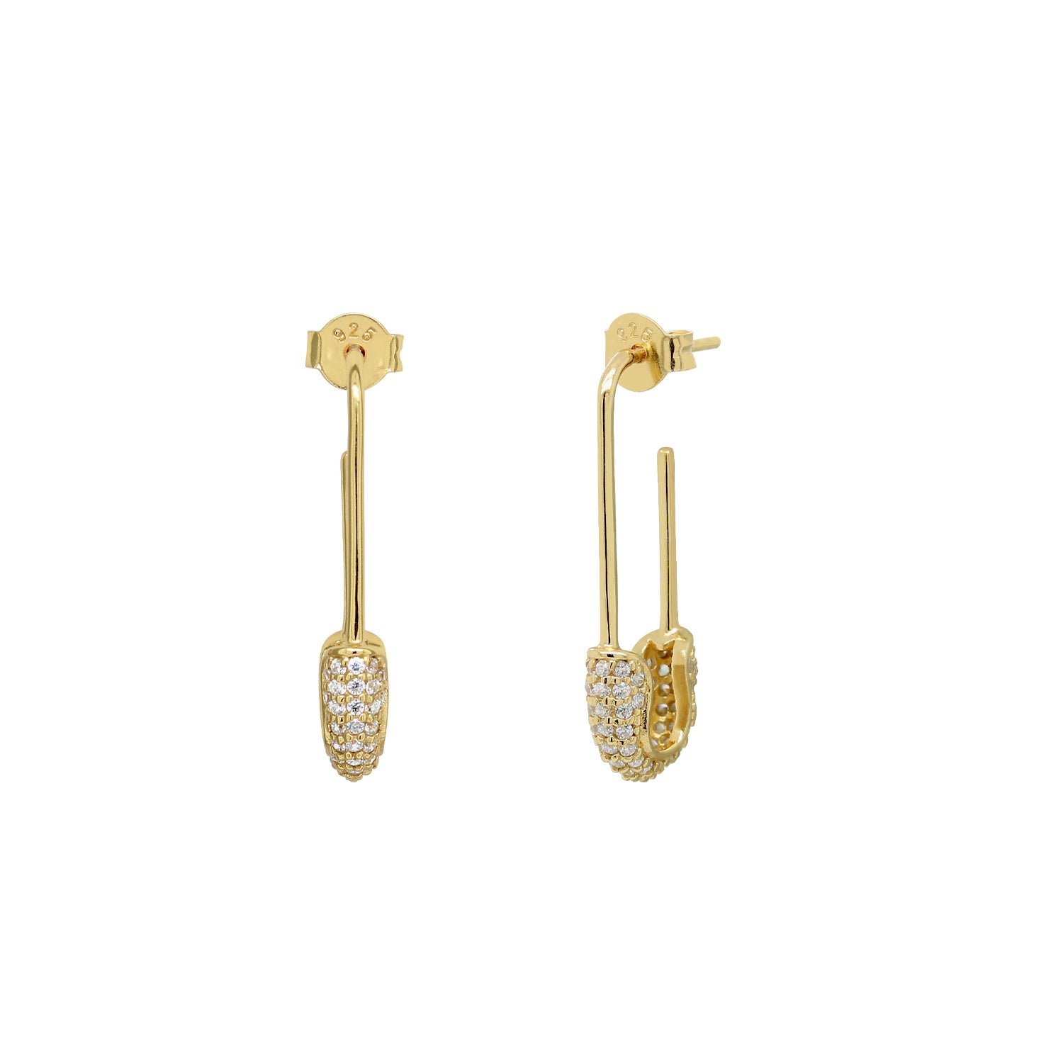 Luxe Pave Safety Pin Stud Earrings