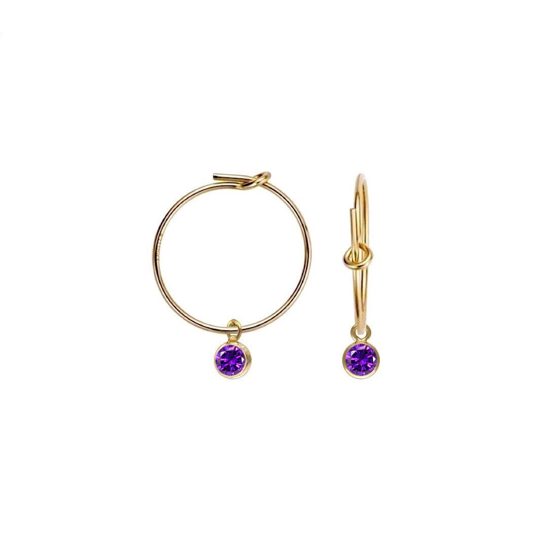 Little Amethyst Hoop Earrings