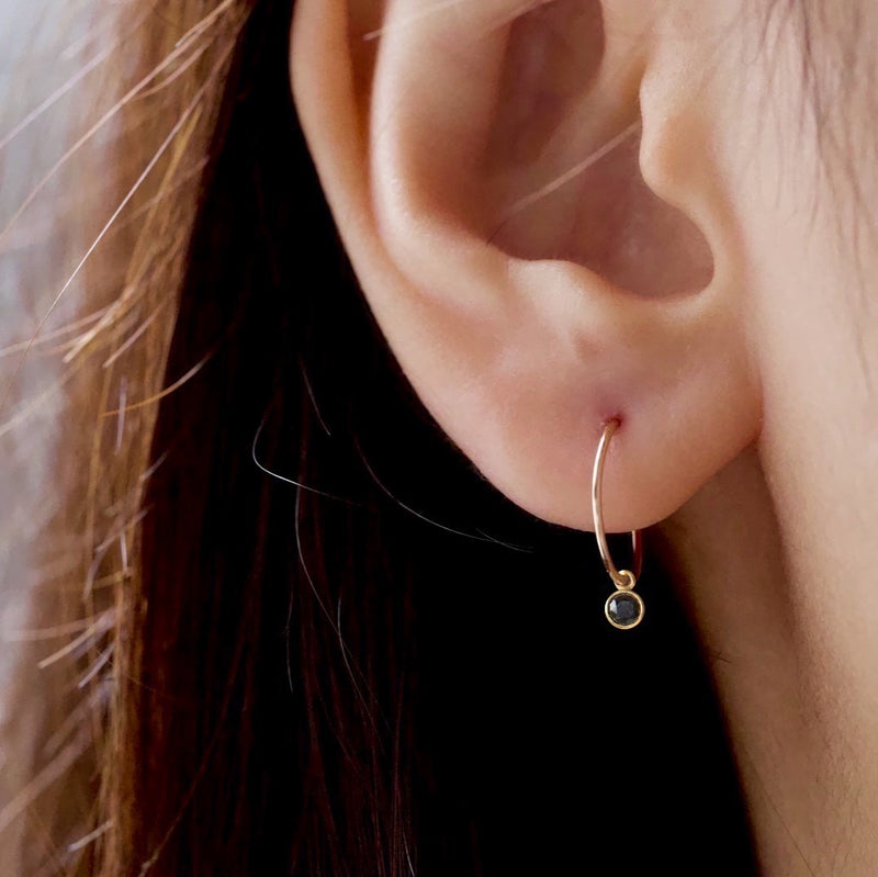 Little Black Bezel Hoop Earrings