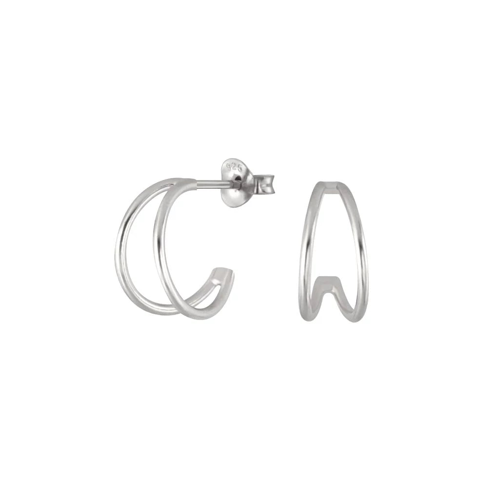 Coupled Huggie Hoop Earrings