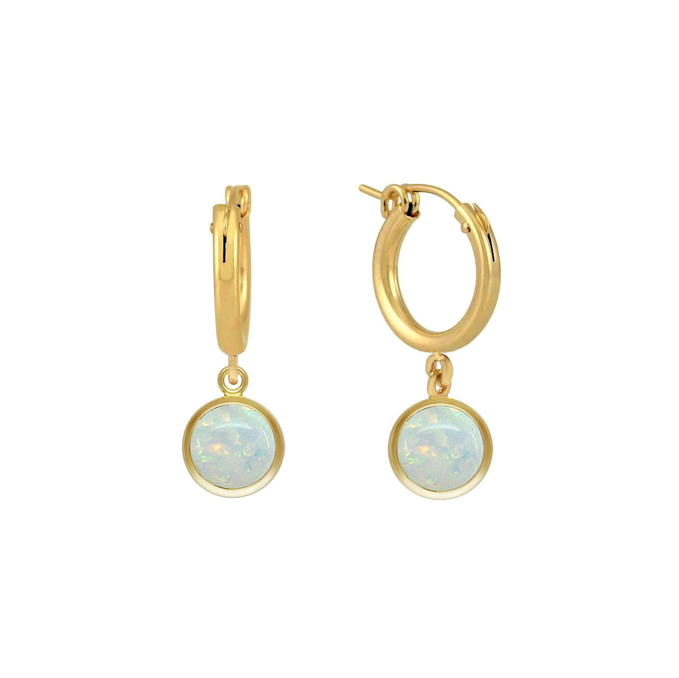 Opal Bezel Hoop Earrings