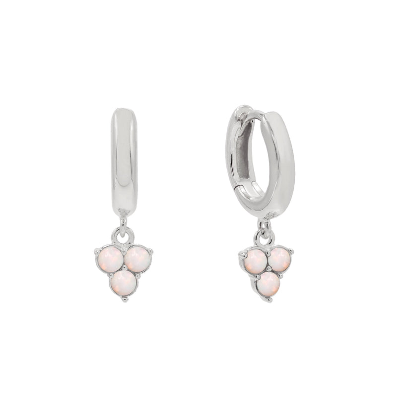 Trio Opal Huggie Earrings