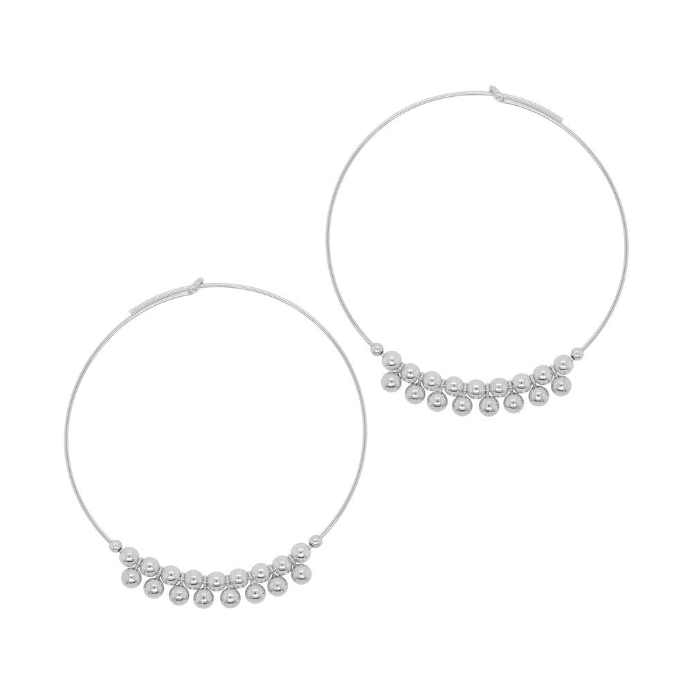 Fringe Ball Big Hoop Earrings