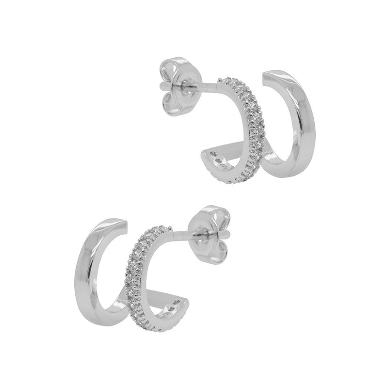 Classic Diamante Double Huggie Earrings