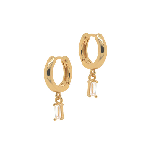 Baguette Drop Huggie Earrings