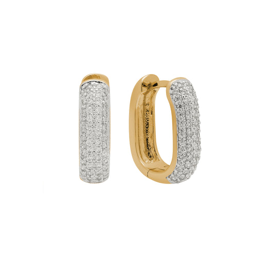 Mini Pavé Bold Link Hoop Earrings