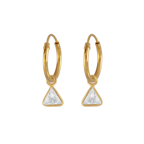 Sparkle Triangle Hoop Earrings