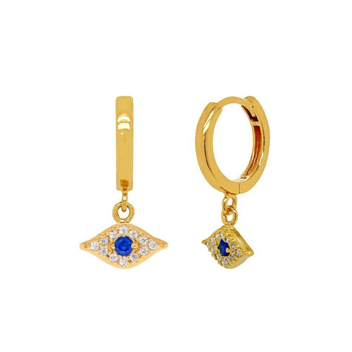 Sparkle Evil Eye Hoop Earrings