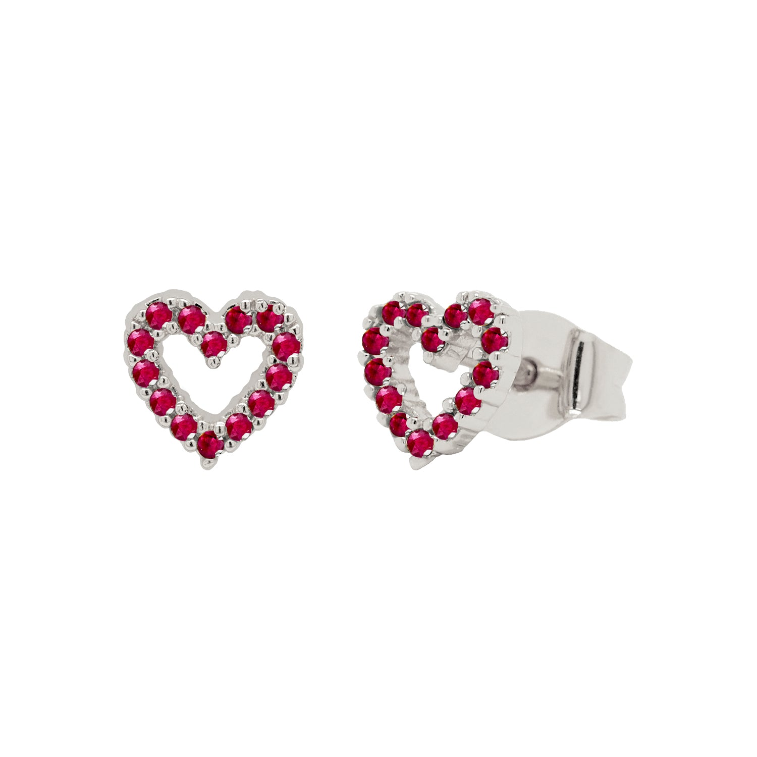 Open Red Heart Stud Earrings