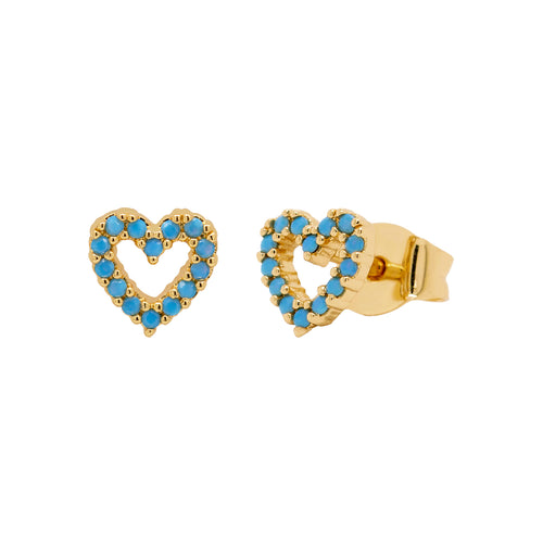 Open Turquoise Heart Stud Earrings