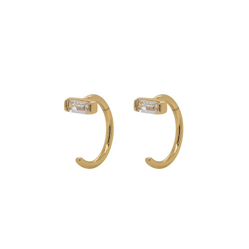 Baguette Open Huggies Earrings