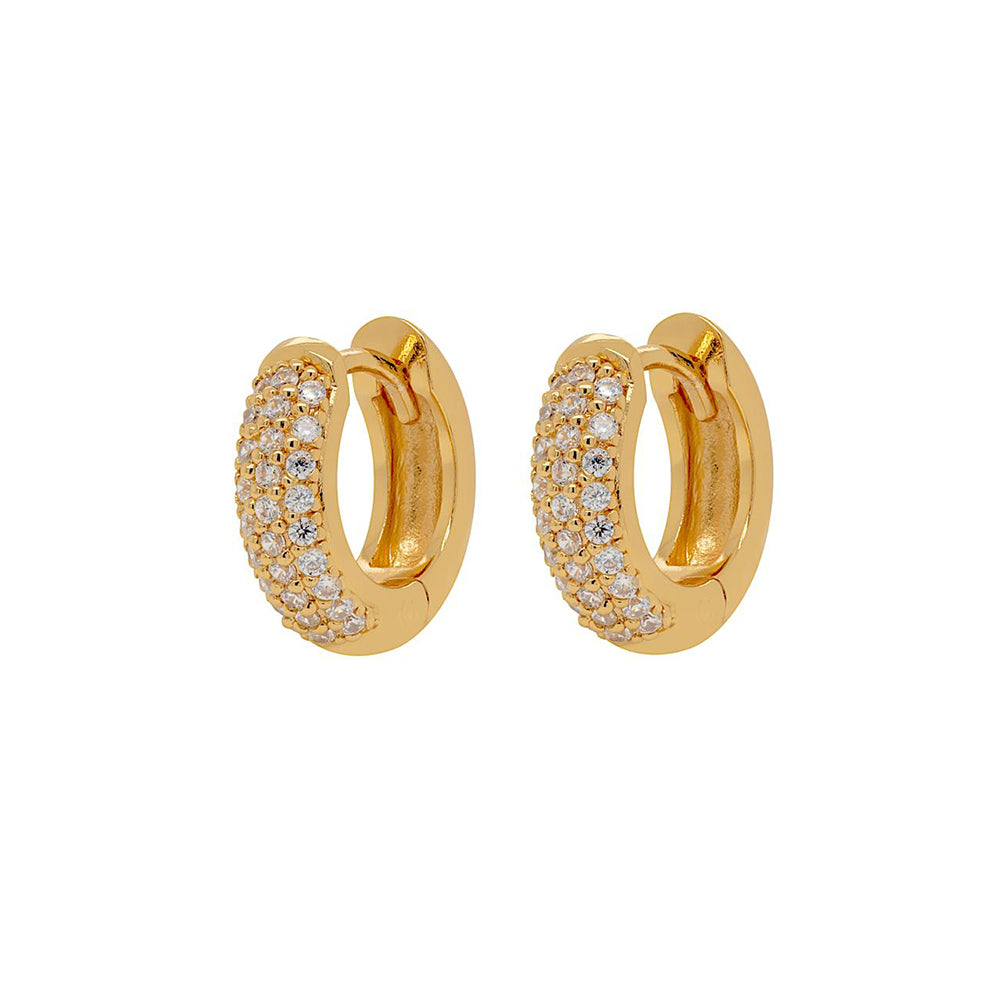 Dazzling Pave Huggie Hoop Earrings